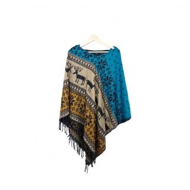 poncho en laine avec capuchon
