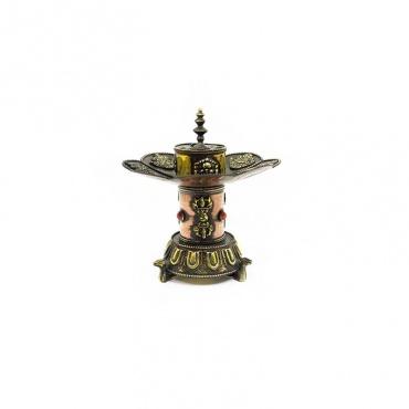brûle encens et bougeoir en cuivre porte-bonheur bouddhiste