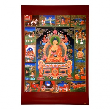 représentation de la vie de bouddha sur affiche