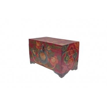 coffret petite malle tibétaine en bois peint lot et noeud sans fin