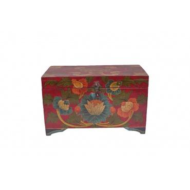 petite malle coffre tibétain en bois peint fleur de lotus et noeud sans fin