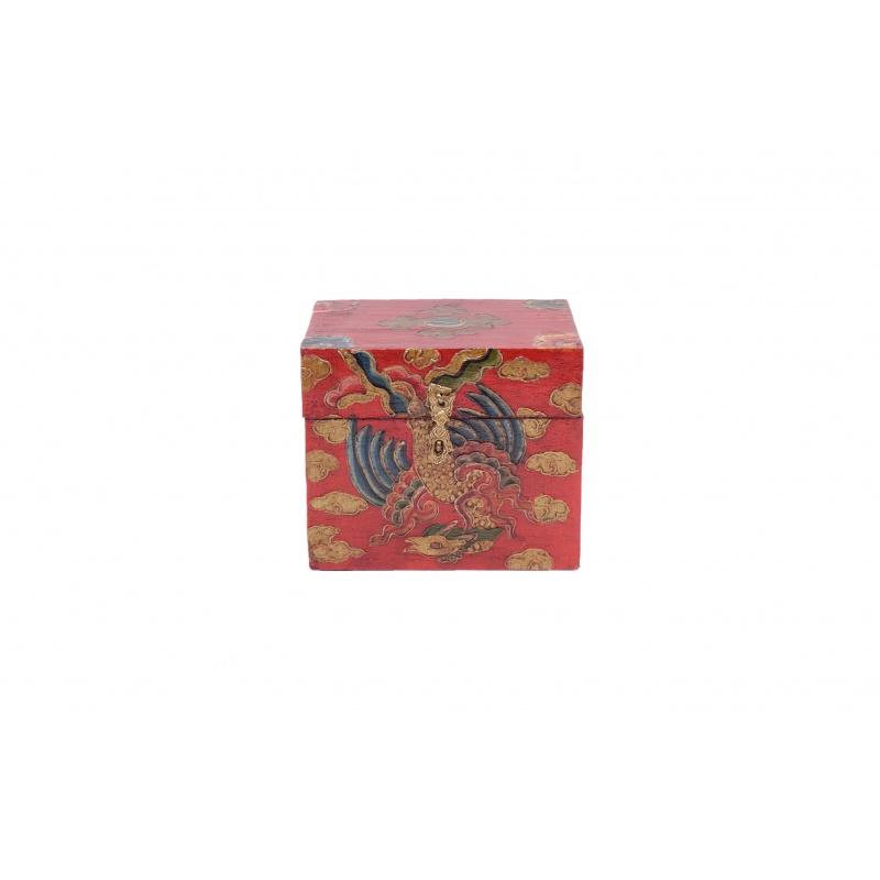 boîte en bois peint tibétain bouddhiste dragon conque