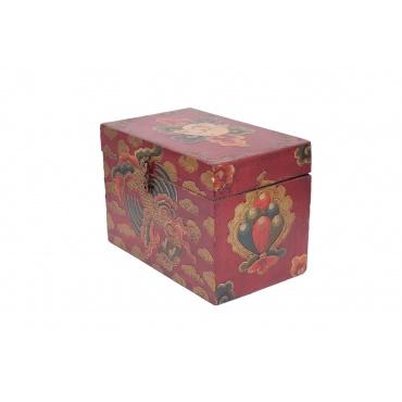 petit coffret tibétain bouddhiste en bois joyaux conque dragon