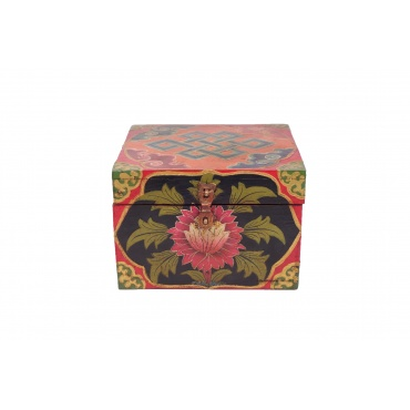 Coffret tibétain en bois Lotus - Conque - Noeud sans fin