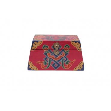 coffret en bois forme trapèze  peinture bouddhiste