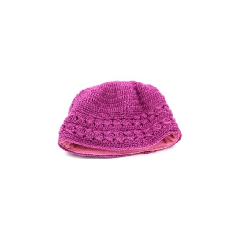 Bonnet laine doublé en polaire  - rose fuchsia - 14