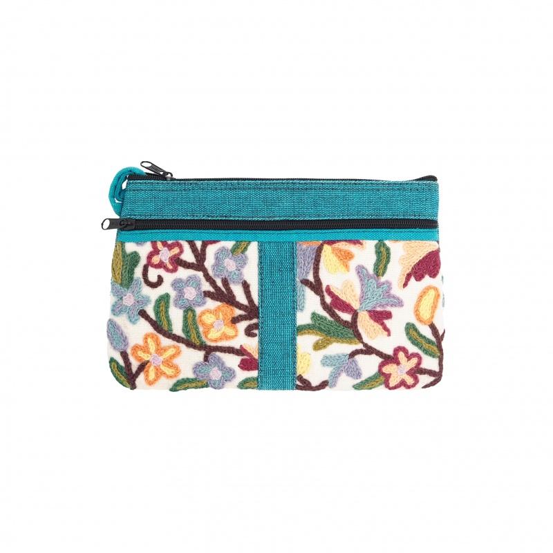 Pochette mini sac en coton brodé bleu turquoise et beige