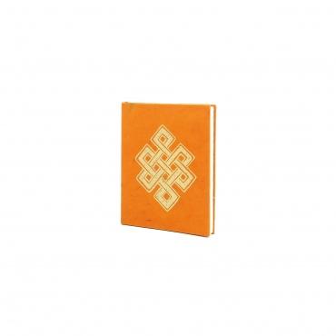 Carnet de note Noeud sans fin - lokta  papier - or et orange chaud