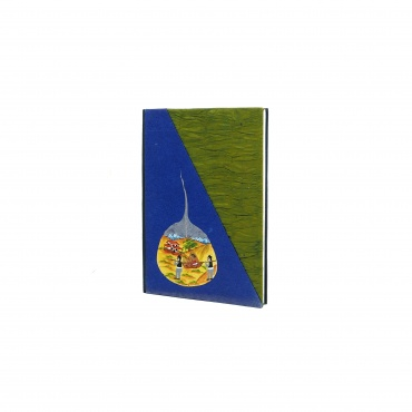 Cahier précieux lokta papier bleu et vert