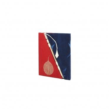 Cahier précieux lokta papier naturel rouge et bleu et feuille de bodhi