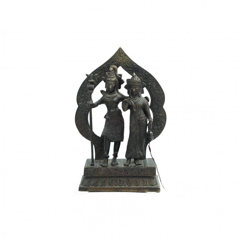 Statue de Shiva et Parvati en métal