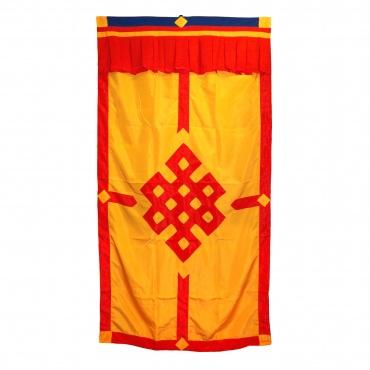 Porte tibétaine orange lumineux et rouge vermillon