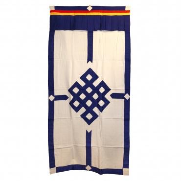 Tenture de porte tibétaine noeud sans fin bleu
