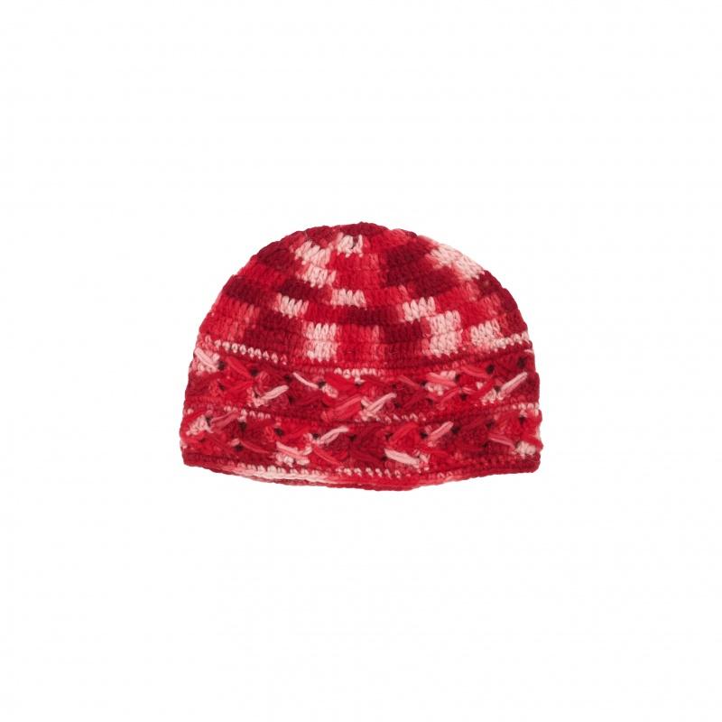 Bonnet rouge bordeaux rose chiné