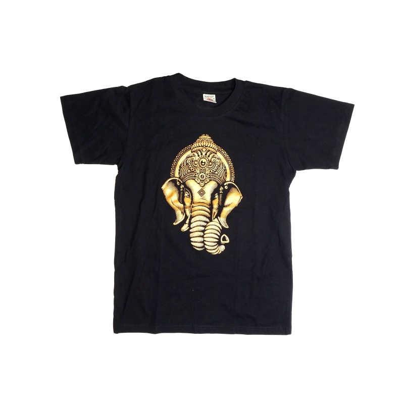 Tee-shirt noir Ganesh doré