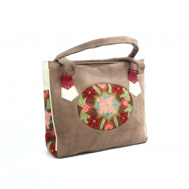 sac à main ou sur l'épaule pour femme en cuir beige et fleurs brodées