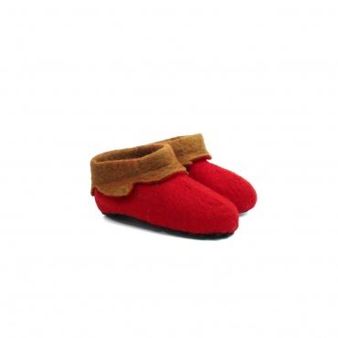 Pantoufles rouge et brun en laine feutrée 30