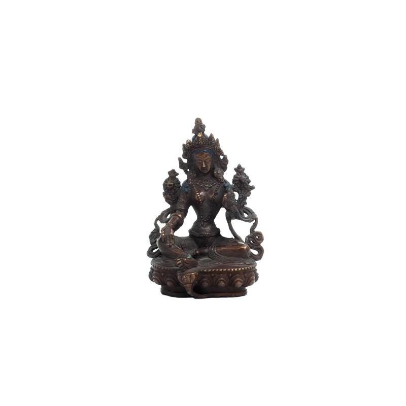 statue bouddha féminin tara verte jambe gauche dépliée