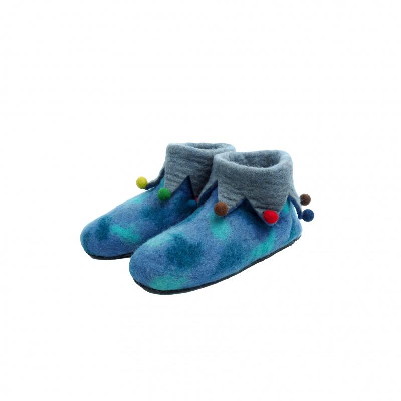 Pantoufles chaussons bleu et gris 40