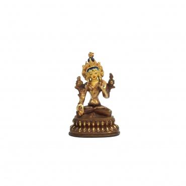 Petite statue demi-or et cuivre de la Tara Blanche