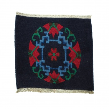 Tapis Tibétain bleu foncé et rouge