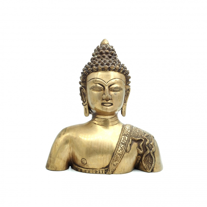 Buste de Bouddha en laiton