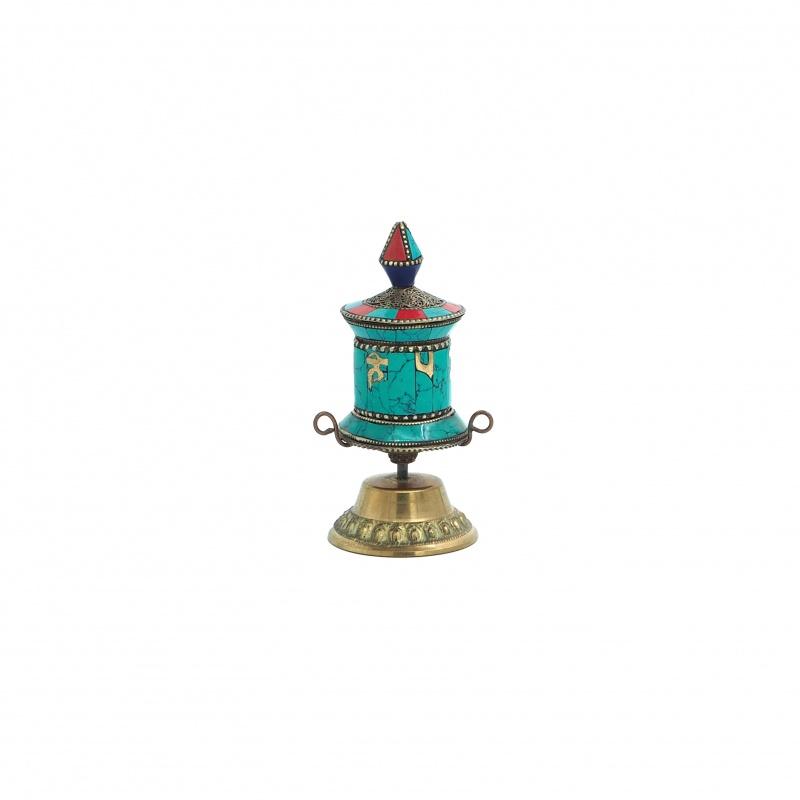 Moulin à prières tibétain turquoise et corail sur socle