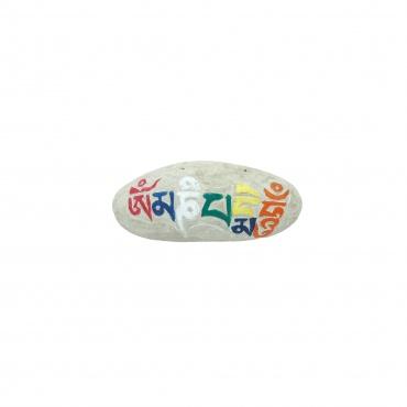 Petit Mani pierre Tibétaine bouddhiste gravée et peinte