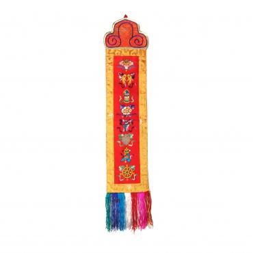 Broderie porte-bonheur signes auspicieux bouddhistes tibétains