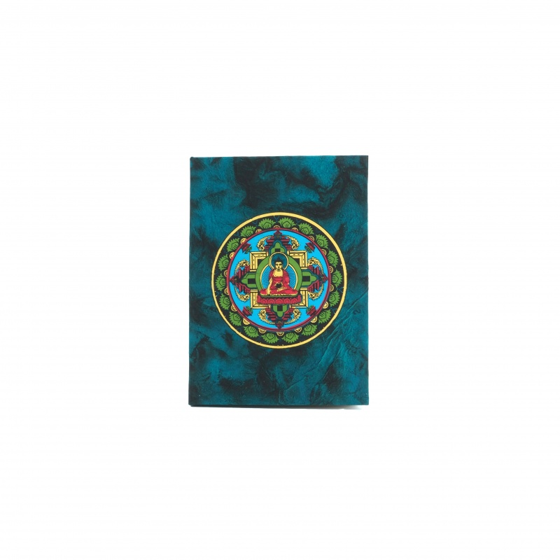Carnet de méditation bleu et Bouddha Mandala