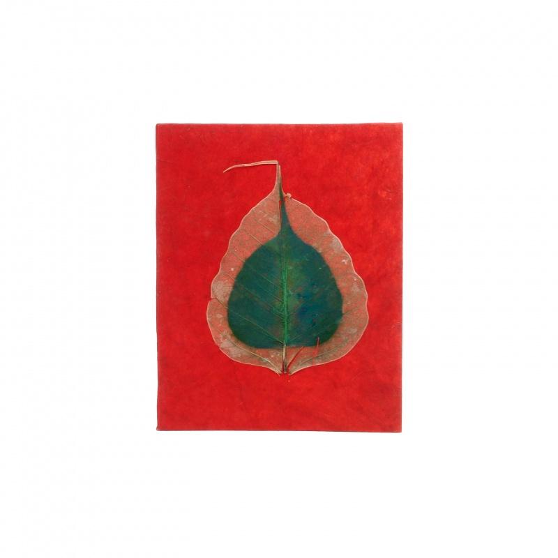 Cahier Carnet de souvenirs rouge et feuilles de Bodhi