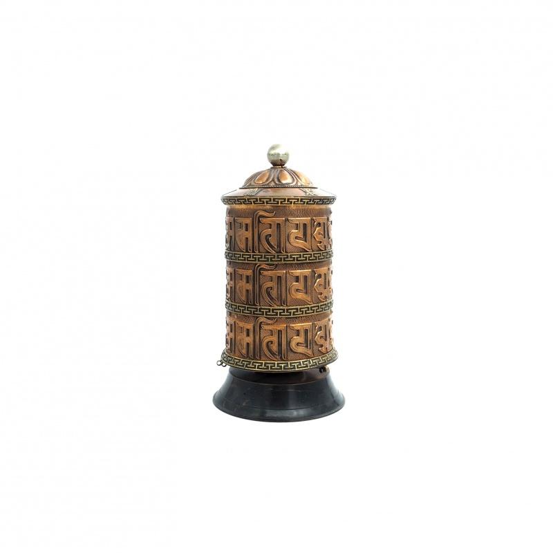 Grand Moulin tibétain bouddhiste de prières en cuivre et laiton