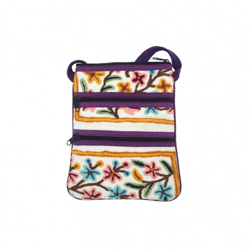 Petit sac plusieurs poches en coton brodé fleuri