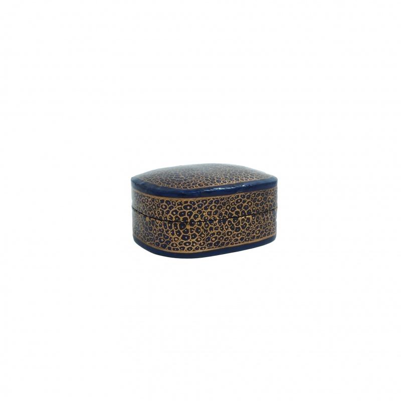 Boîte à bijoux bleu et or