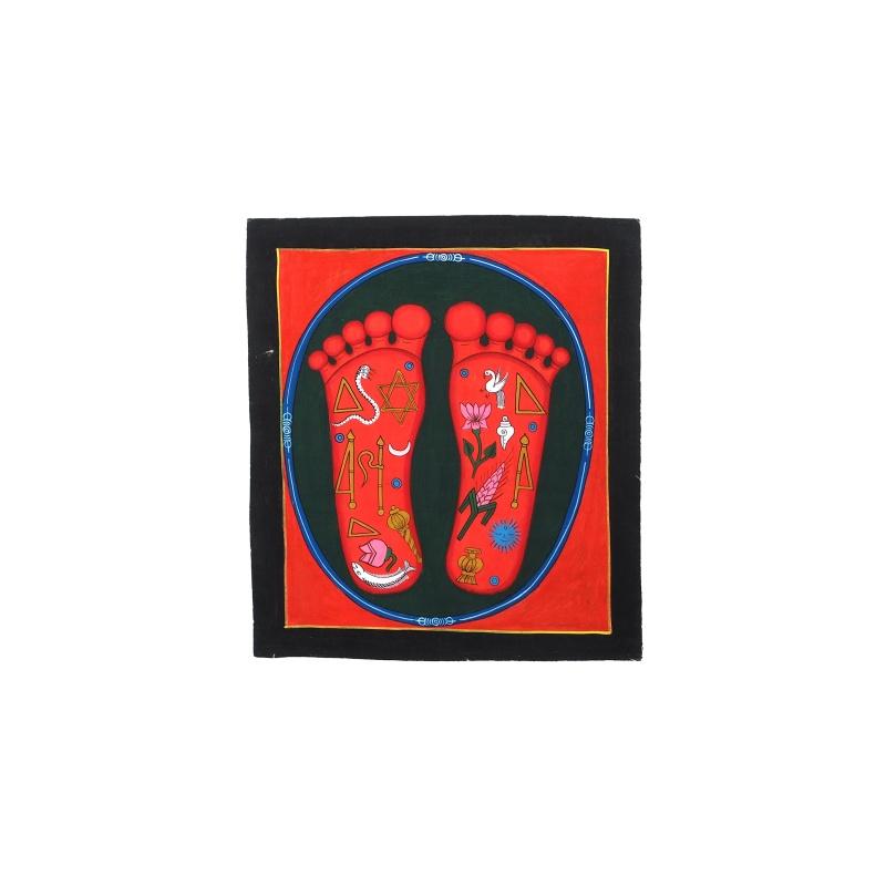 Peinture Pieds de Bouddha rouges et symboles