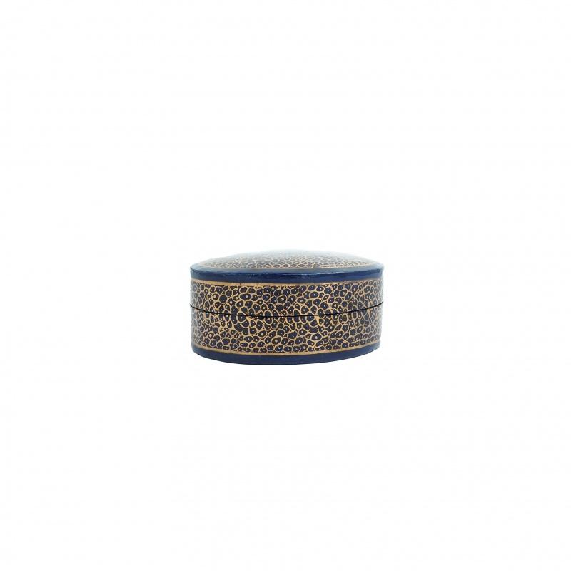 Boîte à bijoux ovale bleu et or