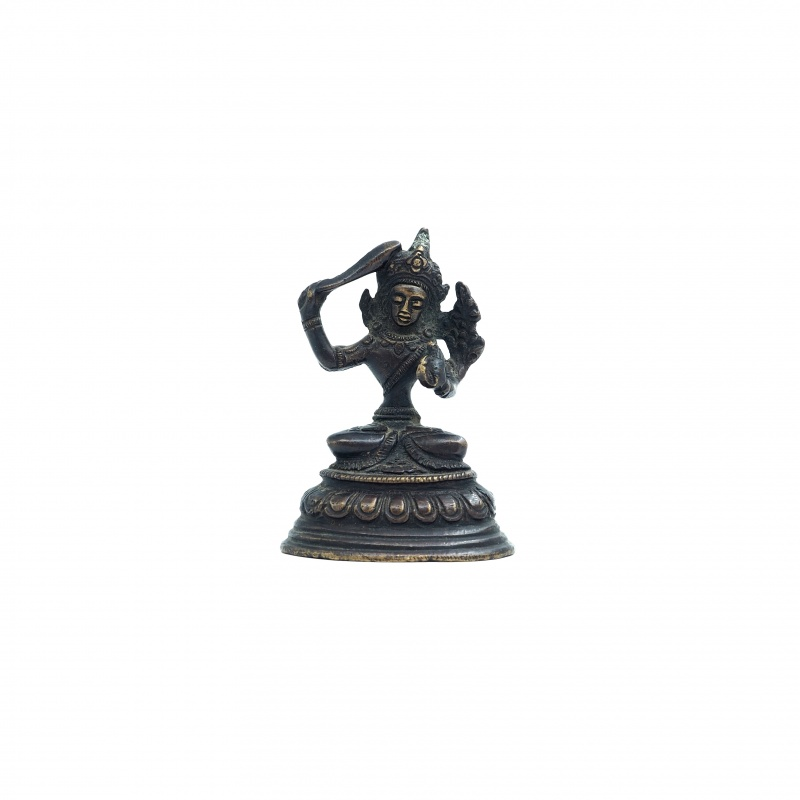 Petite Statue antique de Manjushree en métal
