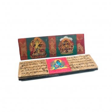 Livre de prières bouddhiste Tibétain en bois
