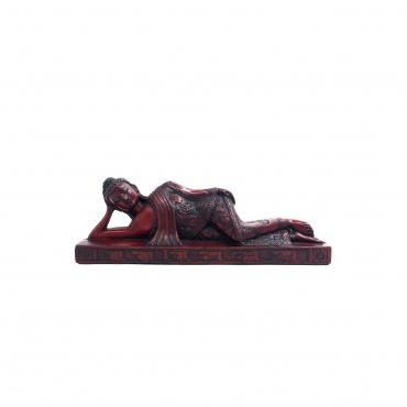 Bouddha couché Paranirvana en résine rouge
