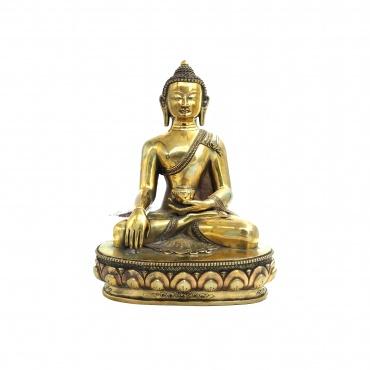 Statue Bouddha Sakia en cuivre poli prise de la terre à témoin