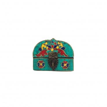 Coffret à bijoux en mosaïque aux couleurs traditionnelles