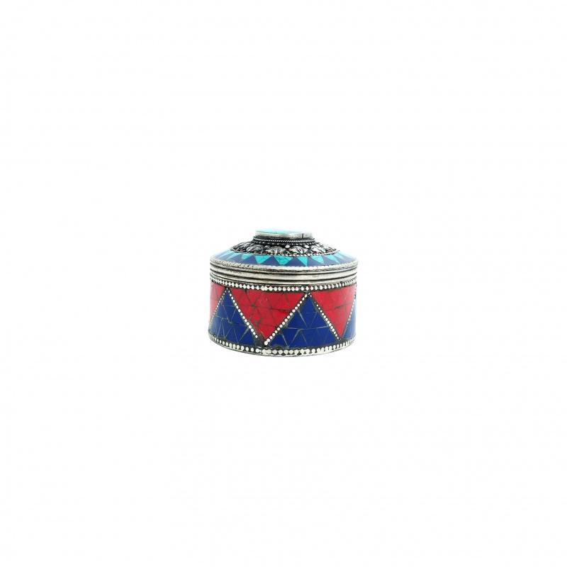 Boîte à bijoux tibétaine corail et turquoise 10 tout-Puissants