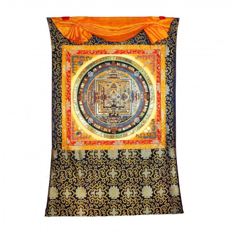 Grand Tangka Mandala du Kalachakra avec or