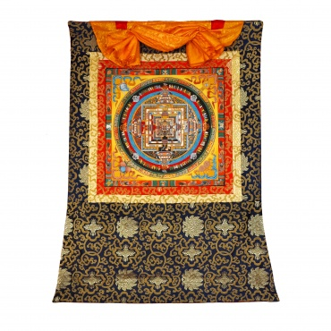 Tangka Mandala Kalachakra sur tissu tibétain et or