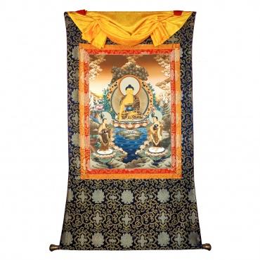 Tangka Bouddha Sakyamuni et deux ses premiers disciples