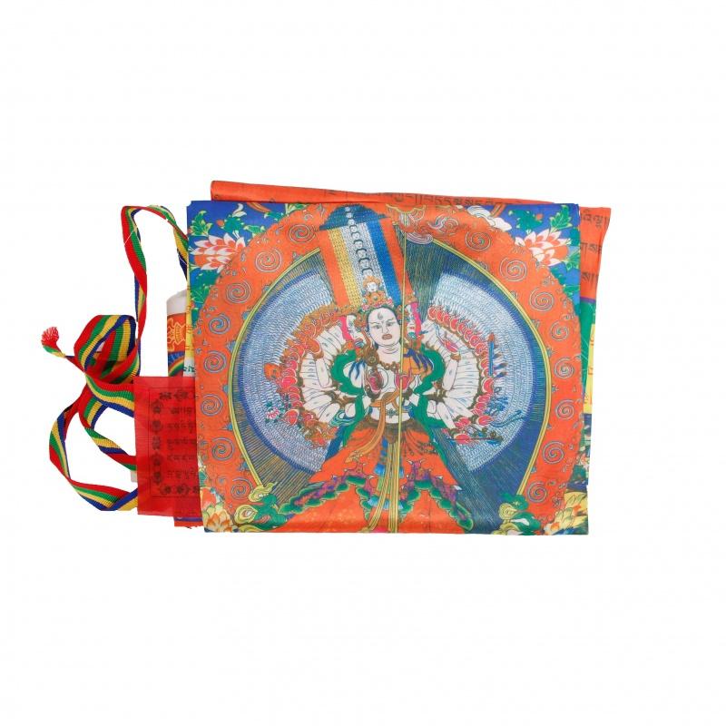 Drapeau Sitatapattra bouddhiste Tibétain pour mât