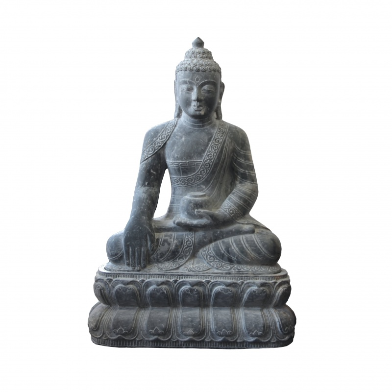Grande statue de Bouddha Shakyamuni en pierre de l'himalaya