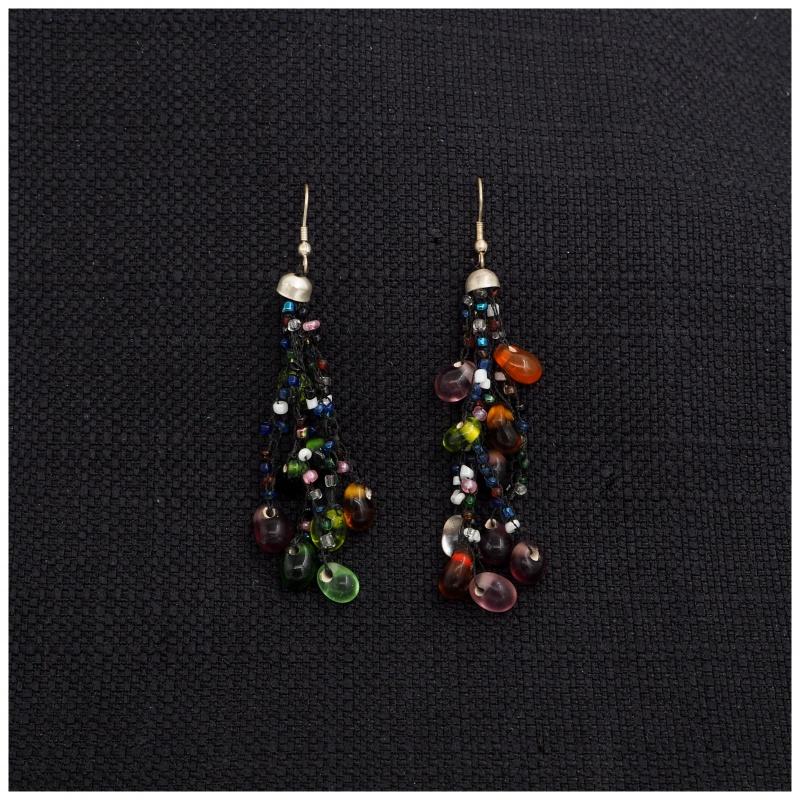 Boucles d'oreilles Tibétaines perles de verres
