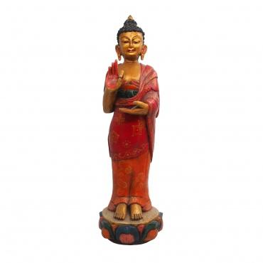 Statue en bois Bouddha debout mudra de l'enseignement
