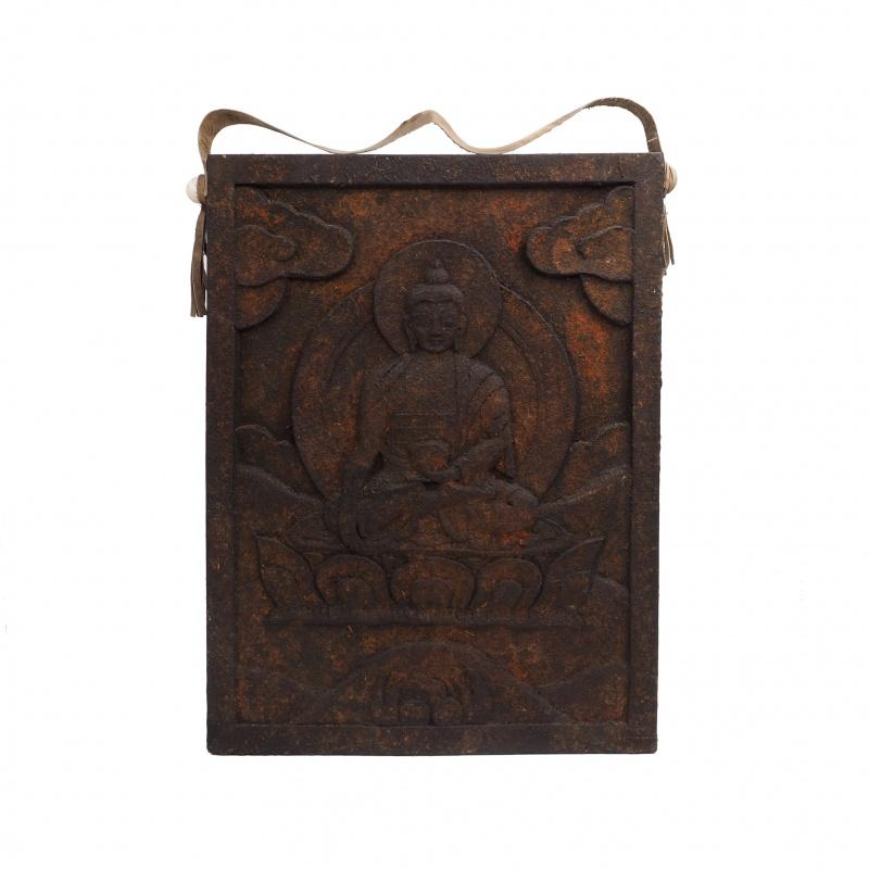 Tableau en bois sculpté Bouddha Sakyamuni
